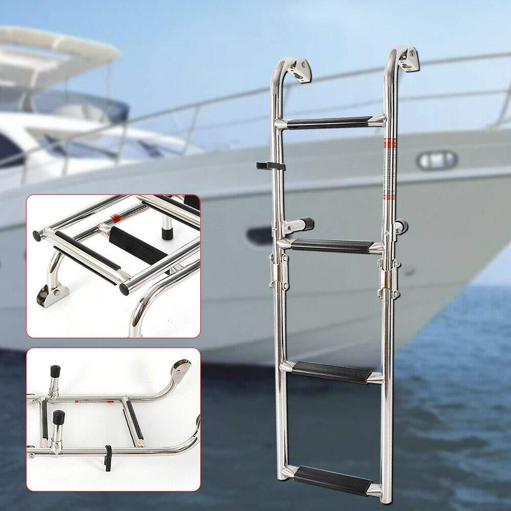 Escalera plegable para yate y barco telescópica de 4 peldaños de acero inoxidable: Amazon.es: Bricolaje y herramientas