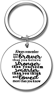 Inspirational Keychain Gifts for Women Men-Always Remember You are Braver Than You Believe Stronger Than-Motivational Encouragement Key Chain Graduation Birthday Boys Girl Teen