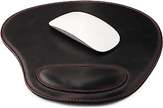 Londo Tapis de Souris Ovale en Cuir PU avec Repose-Poignet (Noir), OTTO218