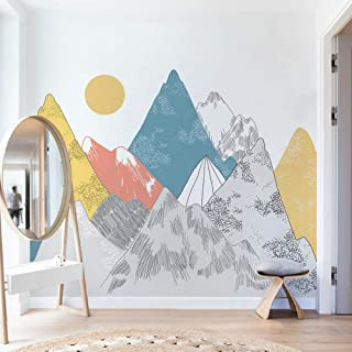 Wall Stickers Murals Colored Mountains Sunset Pattern Wall Stickers Woodland Tribal Living Room Wall Decal Vinyl Art Wallpaper Decoration 300X120Cm