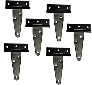 T&B T-Strap Light Duty Shed Hinge Gate Strap Hinge Door Barn Gates Hinges Black Wrought Hardware Iron Rustproof 6PCS (4inch)