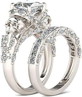 Jeulia Skull Engagement Ring Sets Sterling Silver Promise Eternity Band Rings Diamond Princess Cut with Cubic Zirconia Wedding Engagement Anniversary Promise Rings Bridal Sets