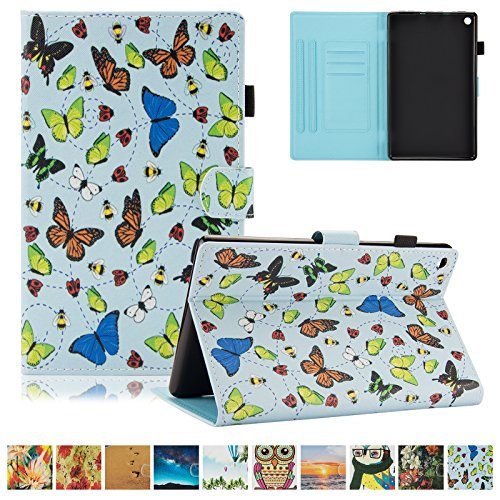 UUcovers Kindle Fire HD 8 Case,Slim Folio Stand Case with Auto Wake/Sleep&[Pen Slot] Smart Cover for Amazon Kindle Fire HD 8 7th Gen 2017 Release & 6th Gen Release 2016 with Free Stylus,Butterfly