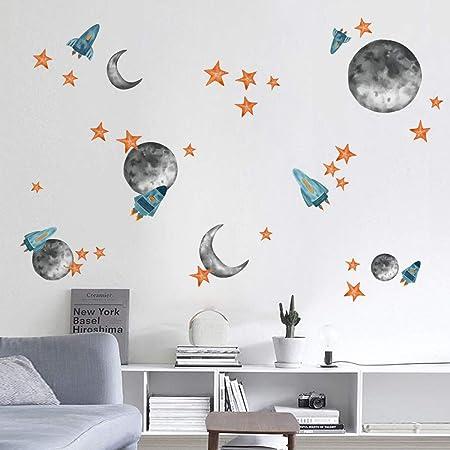 Sonnensystem Wandtattoo f/ür Kinderzimmer Planeten Astronaut Rakete Fluoreszierend Aufkleber Kinder Wandsticker f/ür Schlafzimmer Babyzimmer Kindergarten Wanddeko DIY Cartoon Leuchtsticker