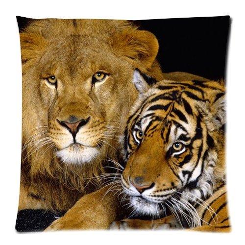 guyeFiy katoen+linnen kussenhoezen sierkussen decoratief kussen hoofdkussenovertrek leeuw en tijger dieren kussenovertrek 45x45 cm
