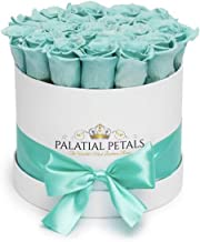 Tiffany Blue Roses That Last A Year   Long Lasting Roses   Preserved Forever Rose Arrangement Flower Box Bouquet   Best Gift for Birthday Her Women Girlfriend Mom (Tiffany Blue)