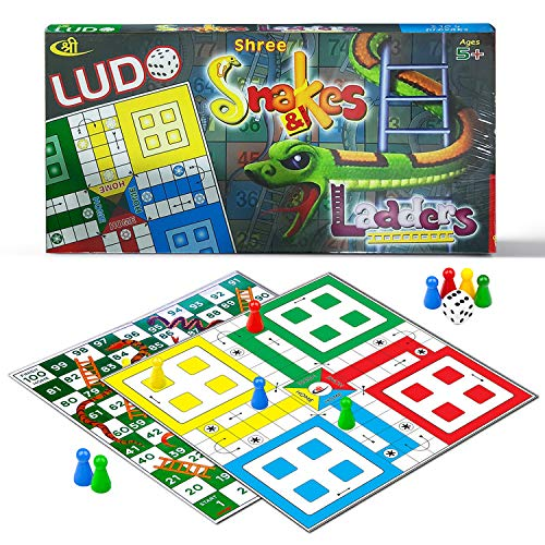 Kids Mandi Ludo and Snake and Ladder Deluxe Board Game, Big Size 13 Inch Playboard
