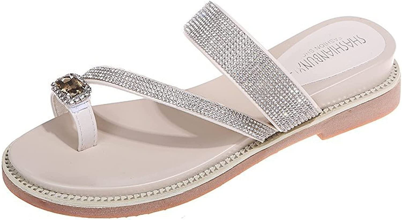 Btrada Women's Comfy Wedge Sandals Ring Toe Flip Flops Slip On Slides Rhinestone Strap Summer Party Dress Heels for Ladies