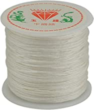 DFSM Chinese Knot Cord 0.8mm Thread Nylon Cord Soft Macrame Rattail Bracelet Braided String DIY Beading Tassels Decorative Rope (Color : White)