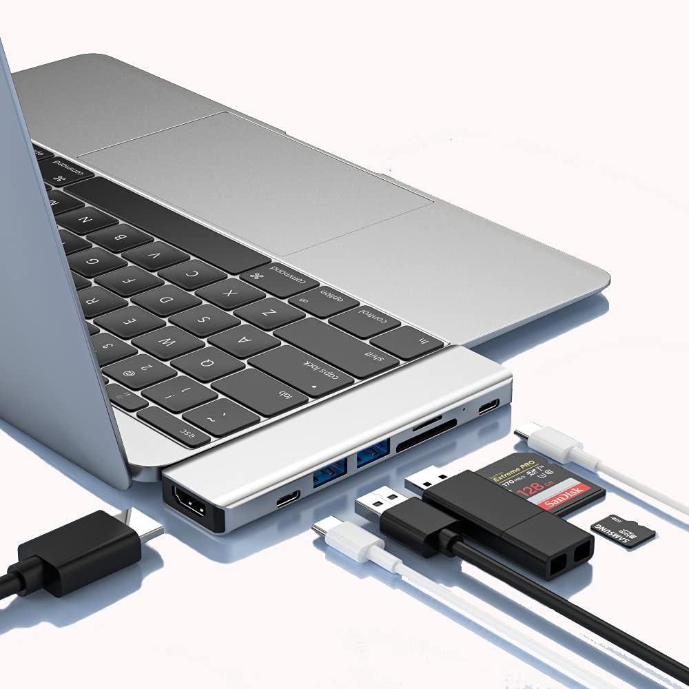 USB C Hub,USB C Dongle for MacBook Pro Adapter, 7 in 2 Aluminum USB C Hub for MacBook Pro Multiport Adapter with 2 USB 3.0, 4K HDMI, USB C Thunderbolt 3 100W, SD/Micro SD