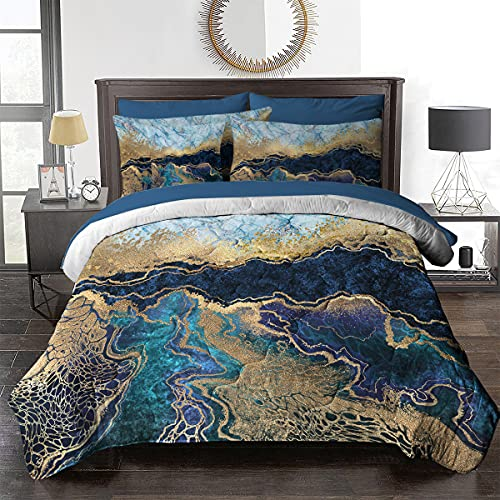 BlessLiving Marble Comforter Bed in A Bag 8 Pieces Queen Size Comforter Sets - 1 Comforter, 2 Pillow Shams, 1 Flat Sheet, 1 Fitted Sheet, 1 Cushion Cover, 2 Pillowcases - Navy Blue and Gold Foil