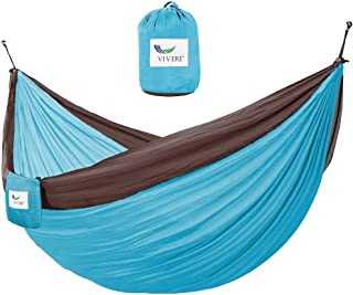 Vivere Parachute Nylon Double Hammock, Chocolate/Turquoise