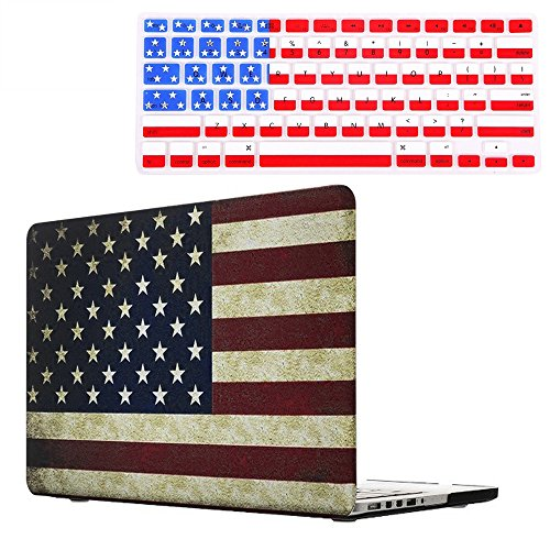 "Rinbers Cut-Out Logo USA/American Flag Rubberized Hard Shell Sleeve Cover Case with Silicone Keyboard Cover for MacBook Pro 15"" 15.4"" Inch with Retina Display A1398 New Version (Without CD-ROM)"