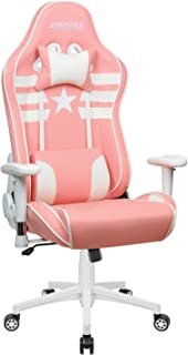 Gaming Chair,High Back Ergonomic Style Racing Chair Leather 180 Degree Reclining Computer Chair 360 Degree Swivel Adjustable Office Chair Footrest Pink, Headrest Lumbar Support