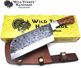 Wild Turkey Handmade Collection 1075 High Carbon Steel Full Tang Butcher Knife Handmade Forged Kitchen Chef Knife High Carbon Steel Butcher Cleaver with Leather Knife Sheath