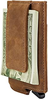 RFID Minimalist Aluminum Wallet Automatic - Slim Money Clip Credit Card Holder Genuine Leather Wrapped Pop Out (Crazy Hors...