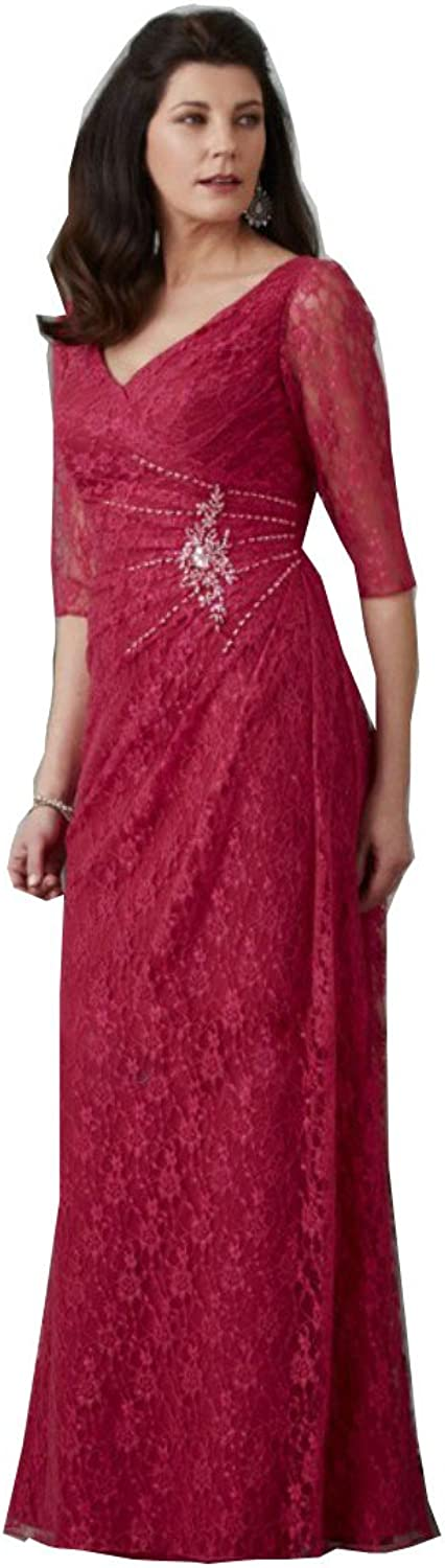Kelaixiang Red Vneckline 3 4 Mother of The Bride Dress