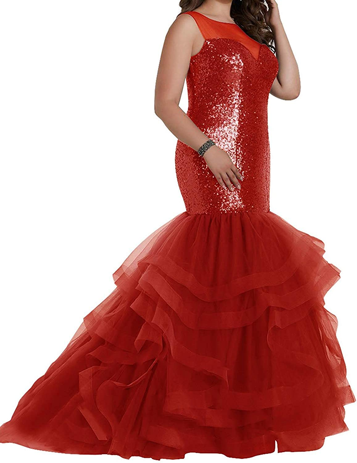 Sound of blossoming Long Mermaid Sequins Plus Size Prom Dresses Tulle Maxi Evening Formal Ball Gowns SOB307
