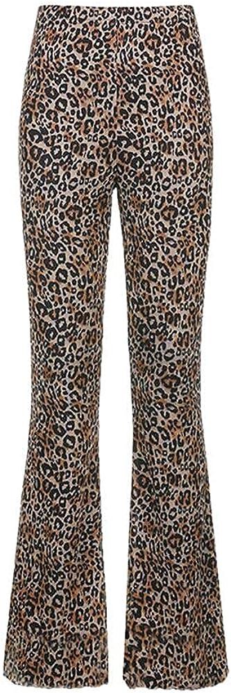 NP Sweatpants Trousers Girl Animal Print Waist Casual Flared Leggings