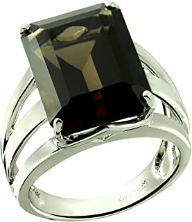 RB Gems Sterling Silver 925 Statement Ring Genuine Gemstone Octagon 16x12 mm with Rhodium-Plated Finish