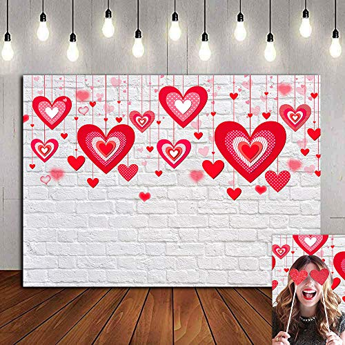Bokeh Red Heart Valentine's Day Photo Background Rustic White Brick Wall Party Decorations...