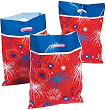 Parade Bags 4th of July, Fire Works Red White and Blue American Flag Themed (24-Pack)
