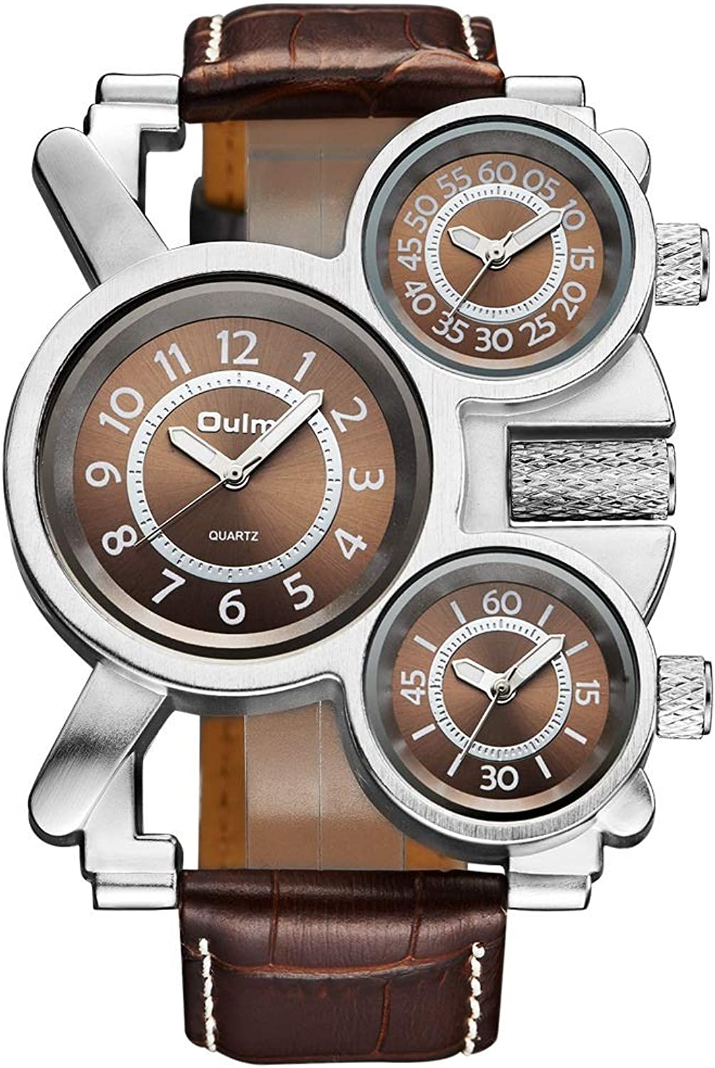 Huijunwenti Men's Watch, MultiFunction Fashion Watch, Multitime Zone Leather Strap, Trendy Style