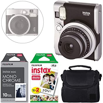 FUJIFILM INSTAX Mini 90 Neo Classic Instant Camera (Black) + Fujifilm Instax Instant Film (20 Exposures) & Instax Mini Monochrome Film (10 Exposures) + Camera Case – Deluxe Accessory Bundle