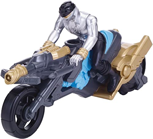 Power Rangers Super Megaforce - Turbo Cycle and 4  argent Ranger Action Figure