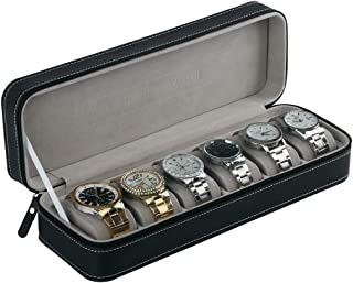 Aco&bebe House 6-Grid Watch Organizer Box, Zipped Closure & Smart Size for Travel (Black, 6-Grid)