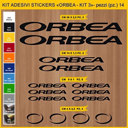 Adesivi Bici ORBEA- Kit 3- Kit Adesivi Stickers 14 Pezzi -Scegli SUBITO Colore- Bike Cycle pegatina cod.0932 (070 Nero)