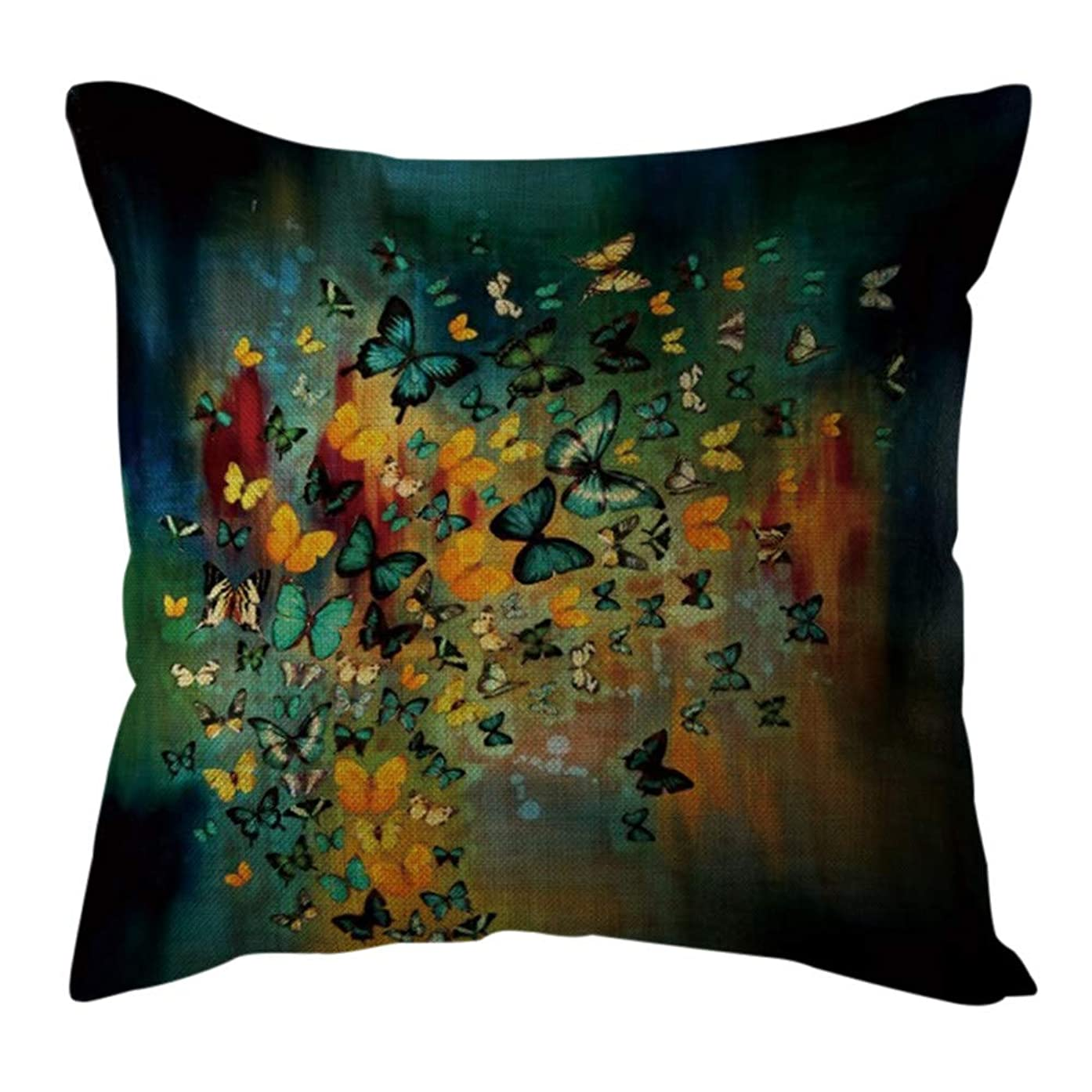 Throw Pillow Covers, E-Scenery Linen Printing Square Decorative Pillow Cases Cushion Cover for Sofa Bedroom Car Home Decor, 18 x 18 Inch (D)