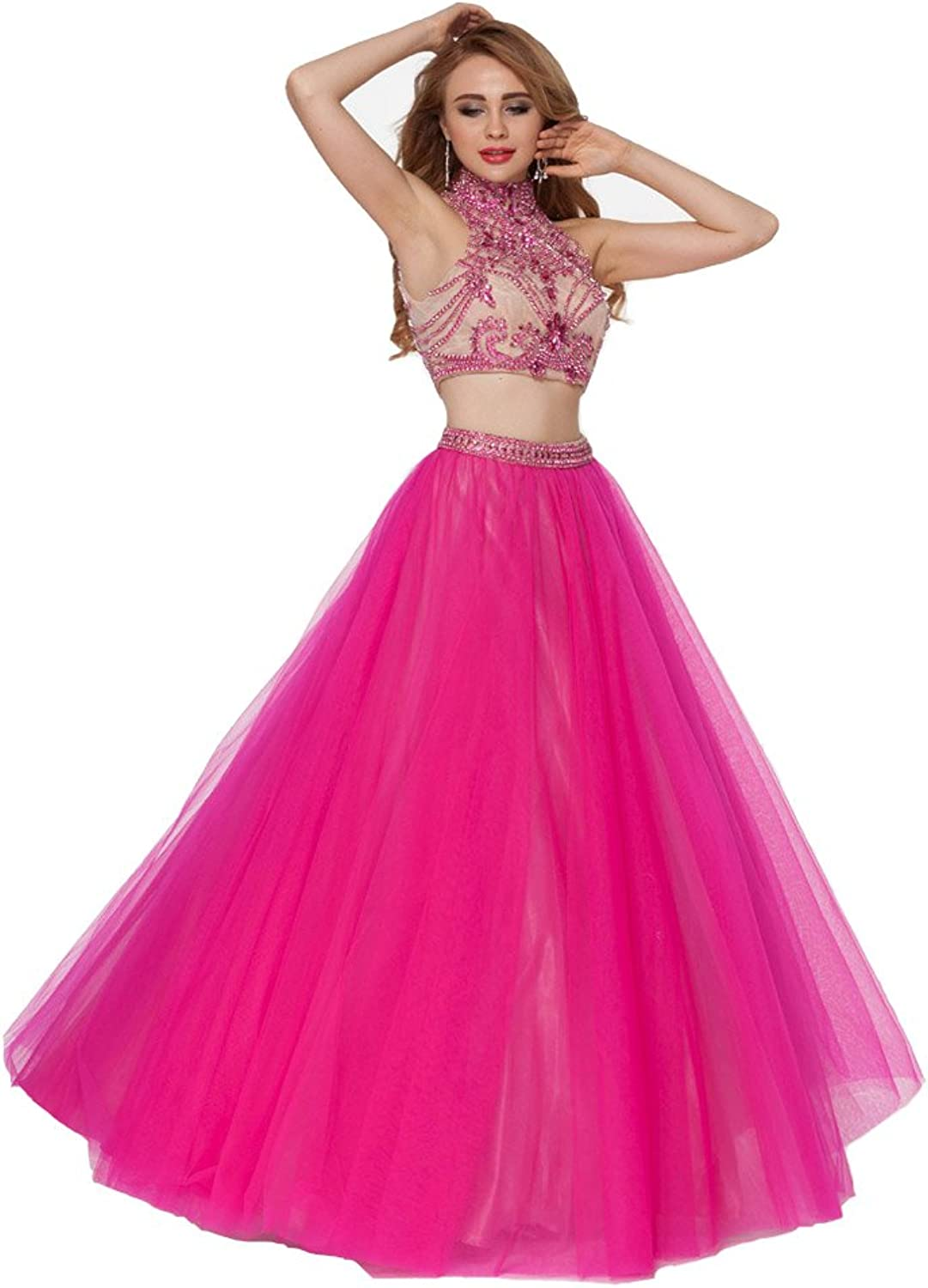 Lemai Hot Pink Long Two Pieces Beaded High Neck Sheer Backless Prom Party Dresses