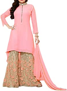 Ethnic Empire Women's Georgette Semi-stitched Anarkali Salwar Suit (Pink_Free Size)