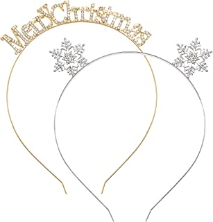ANGLESJELL 2PCS Christmas Headbands for Women Girls MERRY CHRISTMAS Snowflake Hairbands Holiday Hair Accessory Gifts (MERR...