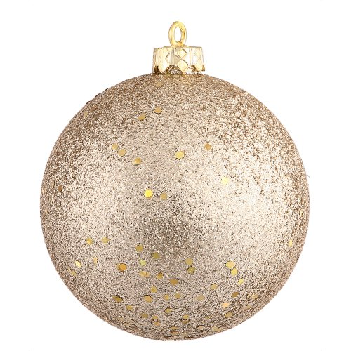 Vickerman Drilled Sequin Ball Ornaments, 6-Inch, Champagne, 4-Pack