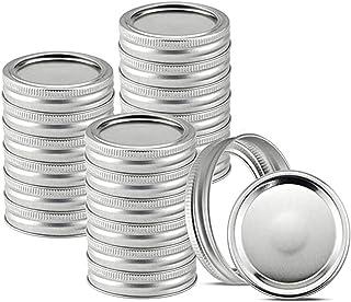 Foaynn 24 PCS Mason Jar Lids Canning Lids/Bands Regular Mouth,Split-Type Lids Leak Proof Secure Mason Storage Caps (70mm,L...