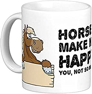 ZMvise Horses Make Me Happy, You Not So Much' Funny Fashion Quotes White Ceramic Mug Cup Perfect Christmas Halloween Gfit