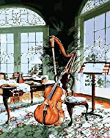 QWEFGDF アクリル絵の具キット DIYの油絵クリスマスプレゼント、家の装飾 (40x50 cm)チェロ