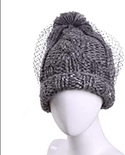 Lxy Hat Women Fall Winter Ball Wild Ear Protection Cute Knitting Wool Cap Hat wk (Color : Gray, Size : M)