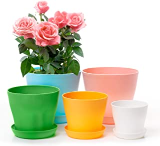 Larpto Plastic Plant Pots, 6.7/6.7/5.5/4.7/4 Inch Flower Pots Indoor with Saucer and Drainage, Set of 5 Bright Colors Plas...