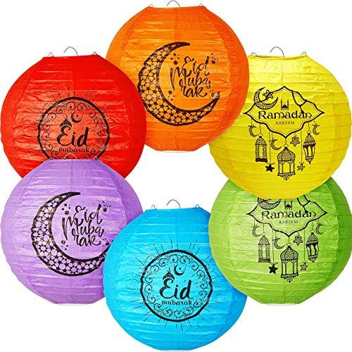 Eid Mubarak 8 Zoll Papier Laternen Dekoration, Bunt Rund Papier Laterne mit Drahtrippen, 8 Zoll Papier Lampenschirme Hängende Dekor für Ramadan Mubarak Eid Party Dekor, 6 Farben (6 Stücke)