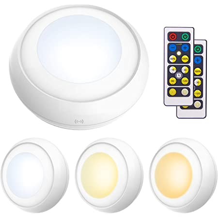 Misso Stick-on Portable Wireless Remote Control Puck Light Under Cabinet Closet Light With Controller Night Light Battery-Operated Wall Light 1 controller + 2 lamps,warm white