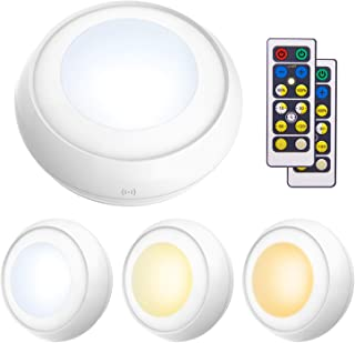 LUXSWAY Battery Powered Push Lights, Wireless Puck Lights, Dimmable Under Cabinet Lights with Nature/Warm/Cool Light, Remo...