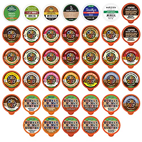 Flavored Decaf Coffee Pods Variety Pack, Great Mix of Decaffeinated Coffee Pods Compatible with all Keurig K Cups Brewers, 40 Count Bulk Coffee Pods Pack