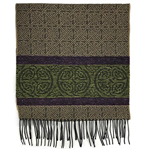 The Celtic Ranch Detailed Woven Celtic Scarf, Women's Fringe Scarf, Wool and Acrylic Blend, 15 Inches x 62 Inches, (Nordic Forest)