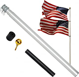A-ONE 20FT Extra Thick Telescopic American Flag Pole, Heavy Duty 16 Gauge Aluminum US Telescoping Flagpole Kit Fly 2 Flags with Golden Ball Topper for Outdoor Residential or Commercial.