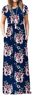 Women Short Sleeve Loose Plain Maxi Dresses Casual Long Dresses with Pockets