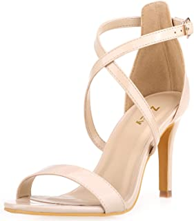 Women Heeled Sandals Cross Ankle Strap Sandals Open Toe Strappy High Heels Party Wedding Shoes