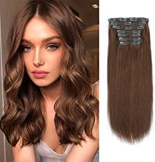 Lovrio 9A Grade Clip in Human Hair Extensions Color Chocolate Brown Silky Straight Double Weft Hair Clip Ins For Women 20 ...